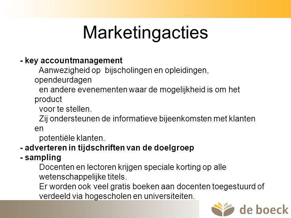 45 Marketingacties - key accountmanagement Aanwezigheid op bijscholingen en opleidingen, opendeurdagen en andere evenementen waar de mogelijkheid is o