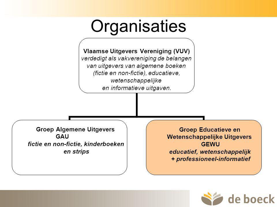 6 Organisaties Vlaamse Uitgevers Vereniging (VUV) verdedigt als vakvereniging de belangen van uitgevers van algemene boeken (fictie en non-fictie), ed