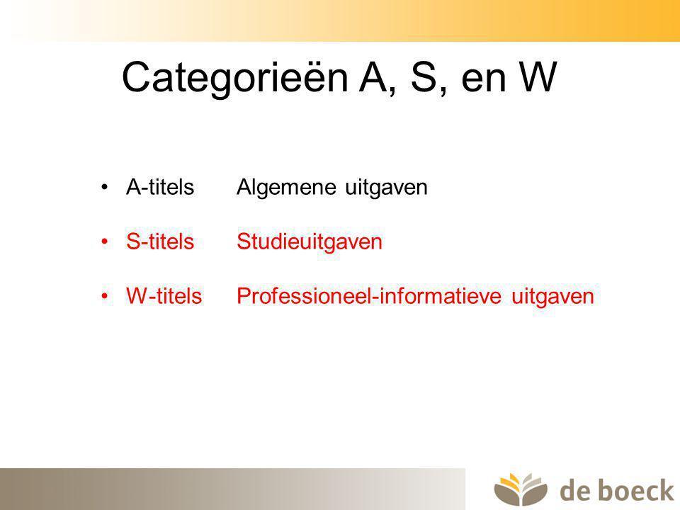 7 Categorieën A, S, en W A-titels Algemene uitgaven S-titels Studieuitgaven W-titelsProfessioneel-informatieve uitgaven