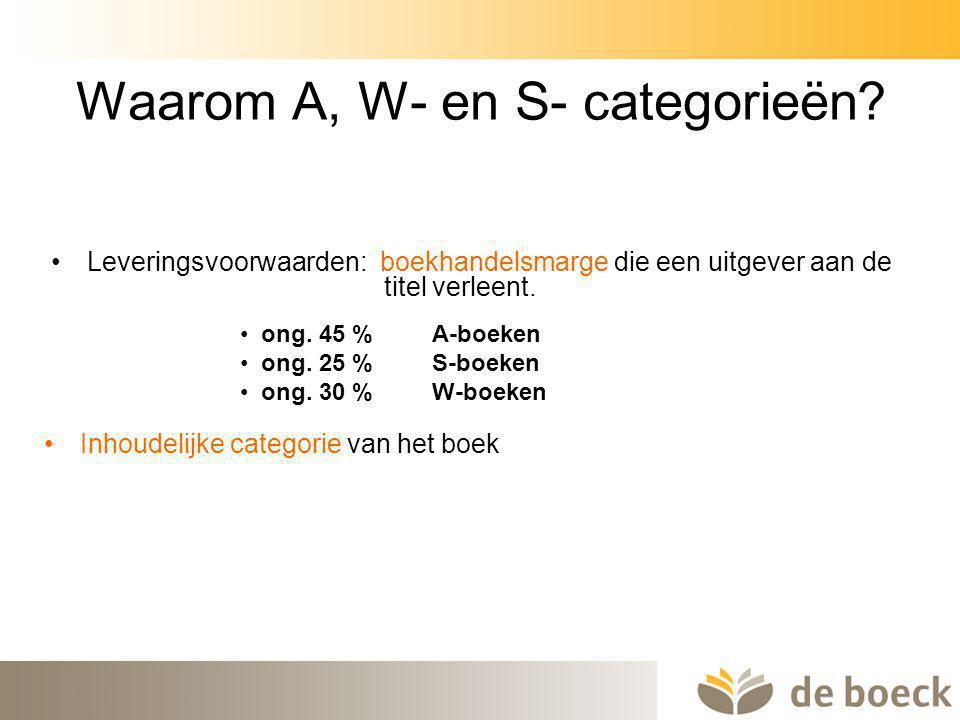 8 Waarom A, W- en S- categorieën? Leveringsvoorwaarden: boekhandelsmarge die een uitgever aan de titel verleent. ong. 45 % A-boeken ong. 25 % S-boeken