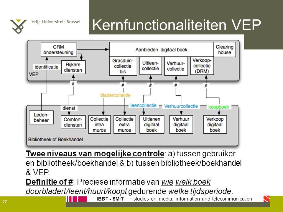 IBBT - SMIT — studies on media, information and telecommunication Kernfunctionaliteiten VEP Twee niveaus van mogelijke controle: a) tussen gebruiker e