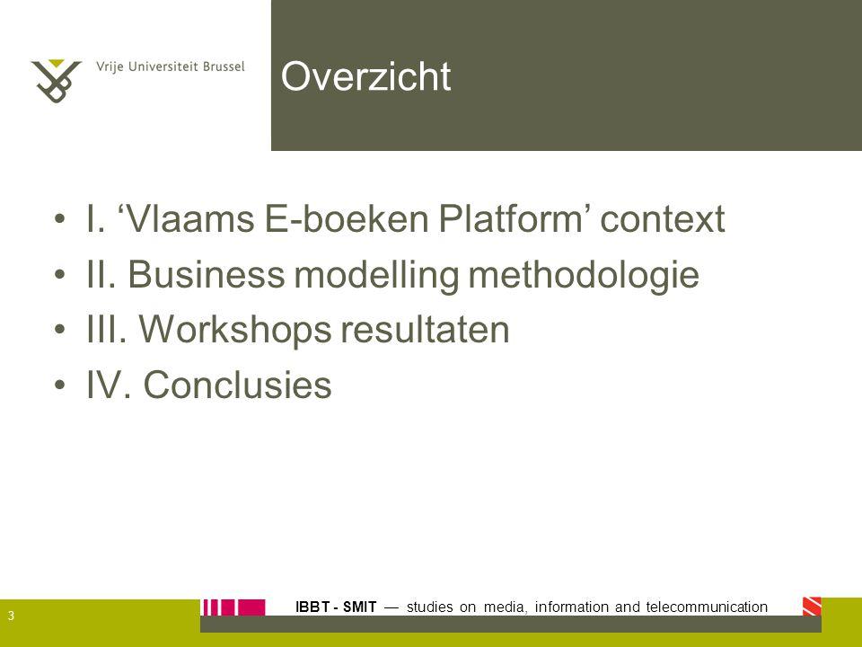 IBBT - SMIT — studies on media, information and telecommunication Overzicht I. 'Vlaams E-boeken Platform' context II. Business modelling methodologie