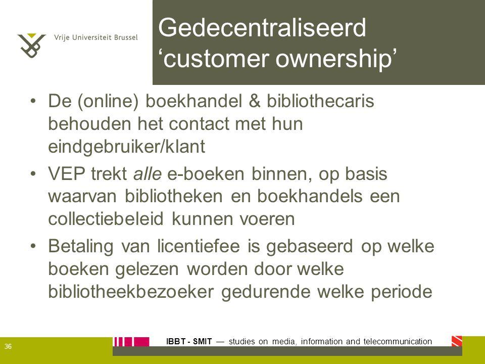 IBBT - SMIT — studies on media, information and telecommunication Gedecentraliseerd 'customer ownership' De (online) boekhandel & bibliothecaris behou