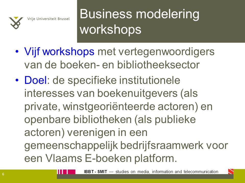 IBBT - SMIT — studies on media, information and telecommunication Business modelering workshops Vijf workshops met vertegenwoordigers van de boeken- e