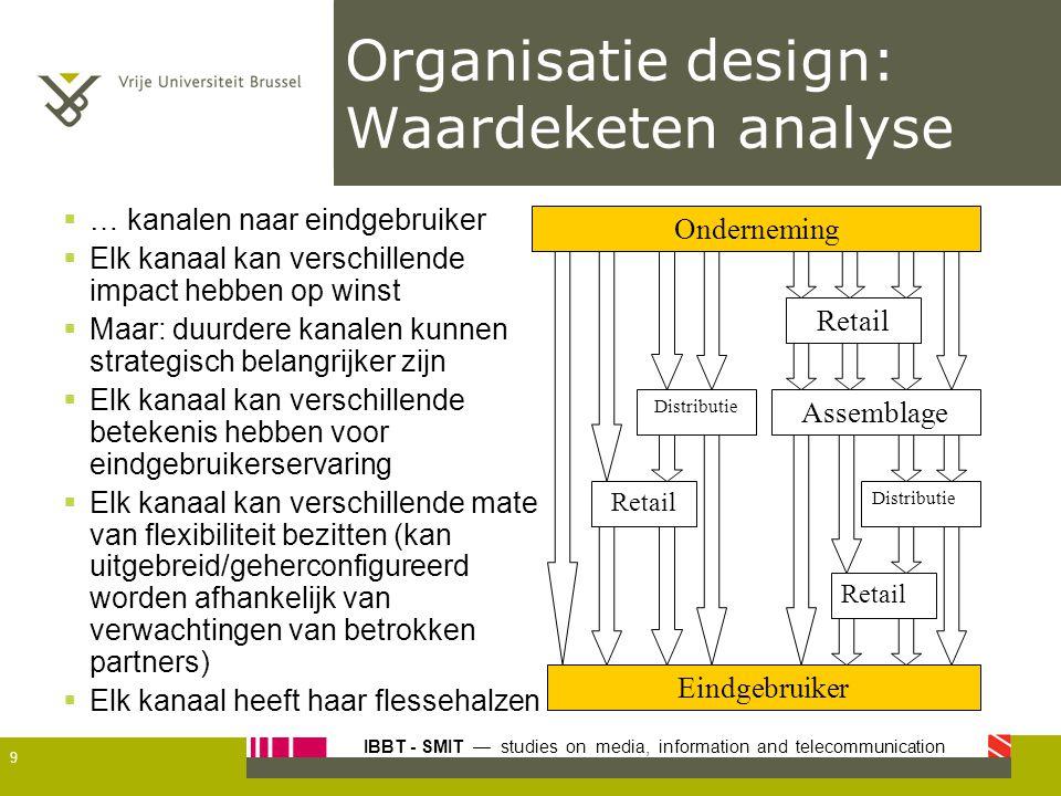 IBBT - SMIT — studies on media, information and telecommunication Organisatie design: Waardeketen analyse 9 Onderneming Eindgebruiker Assemblage Retai