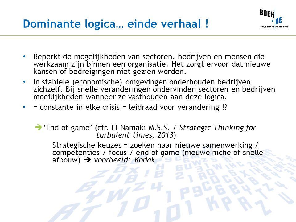Dominante logica… einde verhaal ! Beperkt de mogelijkheden van sectoren, bedrijven en mensen die werkzaam zijn binnen een organisatie. Het zorgt ervoo