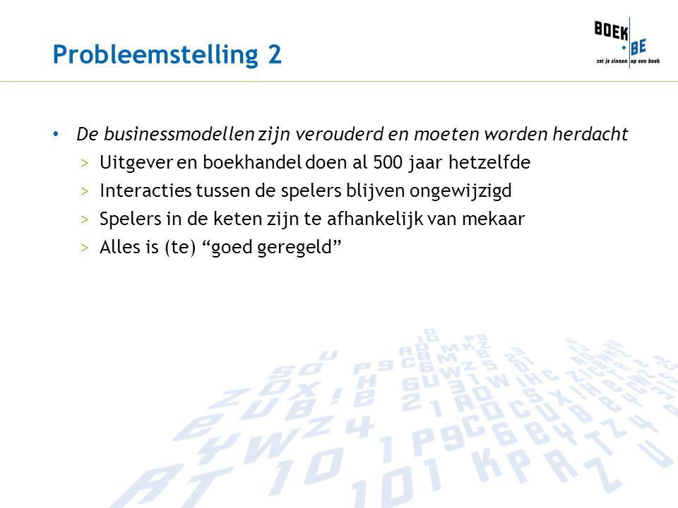 Probleemstelling 2 De businessmodellen zijn verouderd en moeten worden herdacht >Uitgever en boekhandel doen al 500 jaar hetzelfde >Interacties tussen de spelers blijven ongewijzigd >Spelers in de keten zijn te afhankelijk van mekaar >Alles is (te) goed geregeld