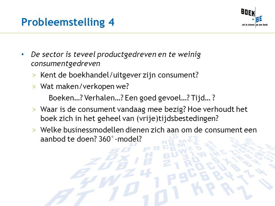 Probleemstelling 4 De sector is teveel productgedreven en te weinig consumentgedreven >Kent de boekhandel/uitgever zijn consument? >Wat maken/verkopen