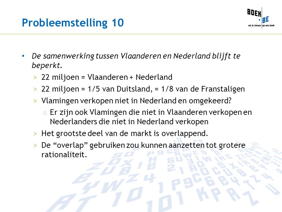 Probleemstelling 10 De samenwerking tussen Vlaanderen en Nederland blijft te beperkt. >22 miljoen = Vlaanderen + Nederland >22 miljoen = 1/5 van Duits