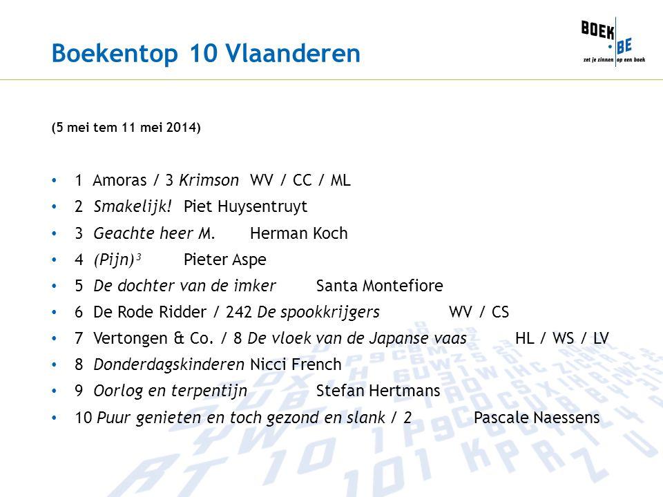 Boekentop 10 Vlaanderen (5 mei tem 11 mei 2014) 1 Amoras / 3 Krimson WV / CC / ML 2 Smakelijk! Piet Huysentruyt 3 Geachte heer M. Herman Koch 4 (Pijn)