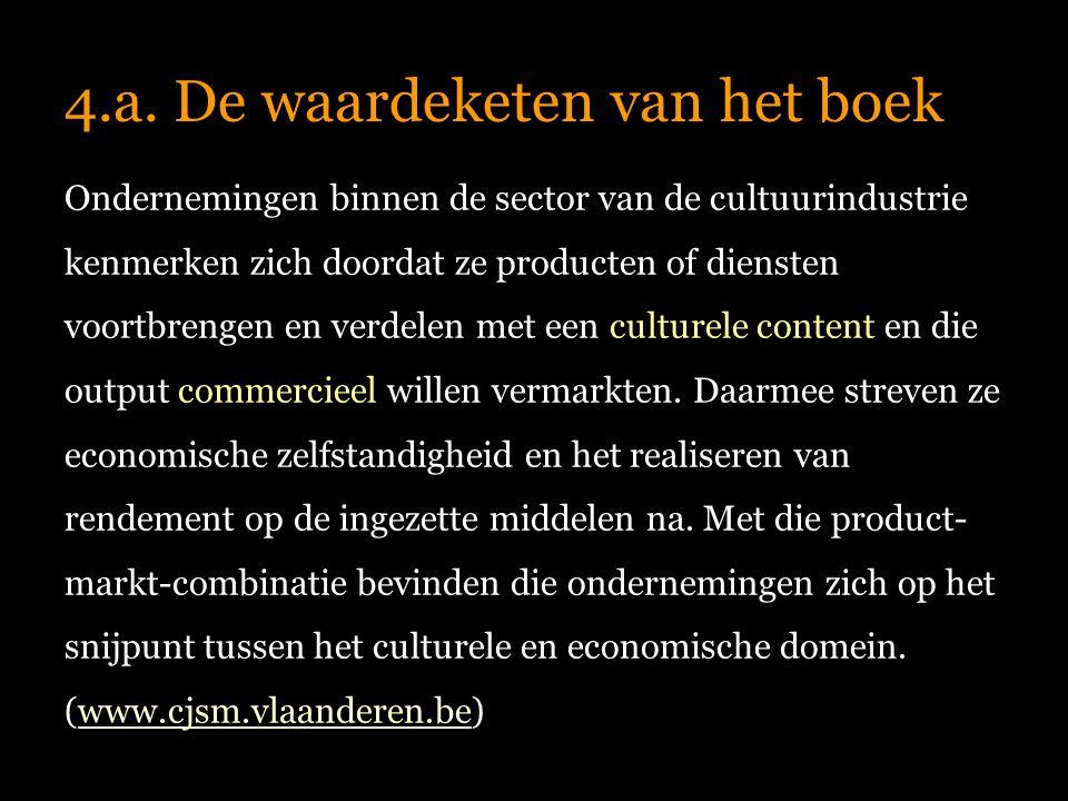 4.a. De waardeketen van het boek Ondernemingen binnen de sector van de cultuurindustrie kenmerken zich doordat ze producten of diensten voortbrengen e