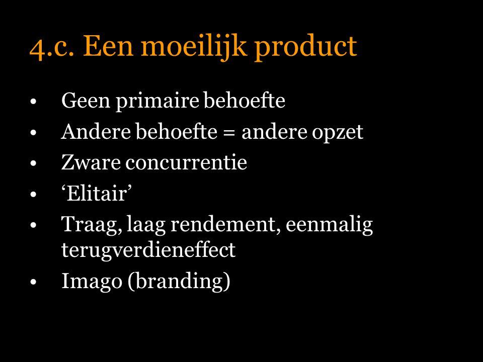 4.c. Een moeilijk product Geen primaire behoefte Andere behoefte = andere opzet Zware concurrentie 'Elitair' Traag, laag rendement, eenmalig terugverd