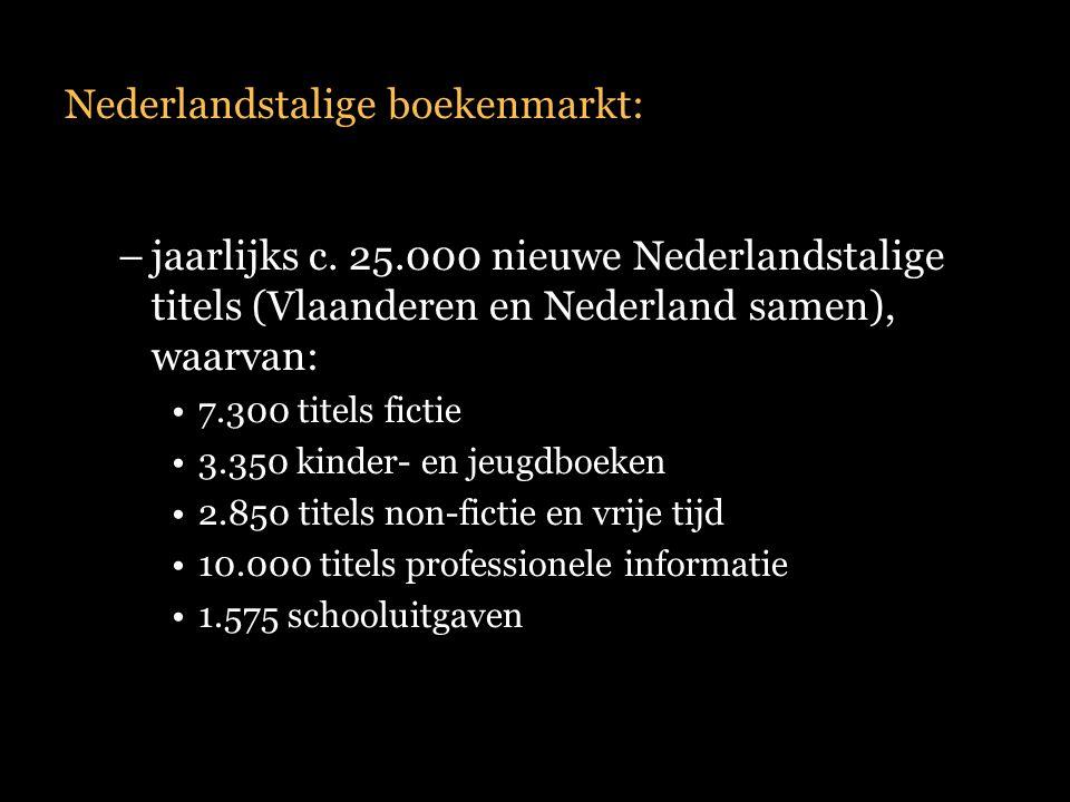 Nederlandstalige boekenmarkt: –jaarlijks c. 25.000 nieuwe Nederlandstalige titels (Vlaanderen en Nederland samen), waarvan: 7.300 titels fictie 3.350