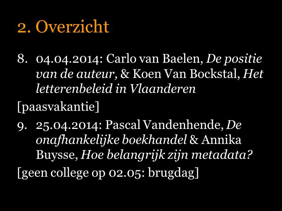 2. Overzicht 8.04.04.2014: Carlo van Baelen, De positie van de auteur, & Koen Van Bockstal, Het letterenbeleid in Vlaanderen [paasvakantie] 9.25.04.20