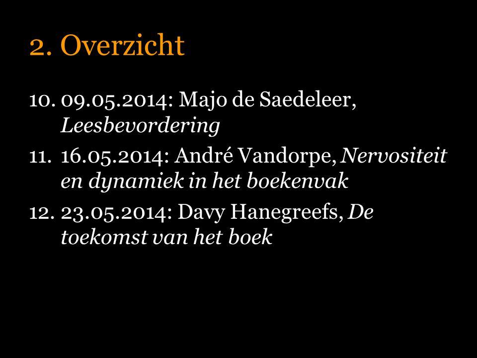 2. Overzicht 10.09.05.2014: Majo de Saedeleer, Leesbevordering 11.16.05.2014: André Vandorpe, Nervositeit en dynamiek in het boekenvak 12.23.05.2014: