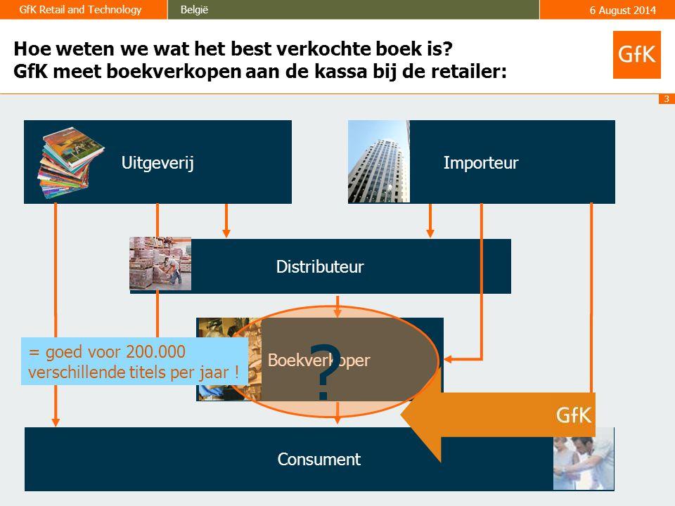 3 GfK Retail and TechnologyBelgië6 August 2014 Hoe weten we wat het best verkochte boek is.