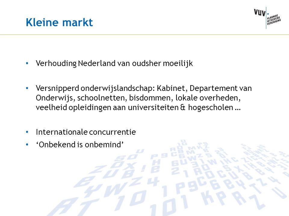 Kleine markt Verhouding Nederland van oudsher moeilijk Versnipperd onderwijslandschap: Kabinet, Departement van Onderwijs, schoolnetten, bisdommen, lo