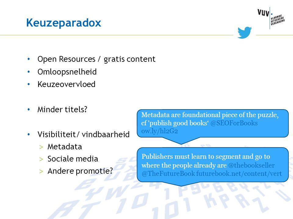 Keuzeparadox Open Resources / gratis content Omloopsnelheid Keuzeovervloed Minder titels? Visibiliteit/ vindbaarheid > Metadata > Sociale media > Ande