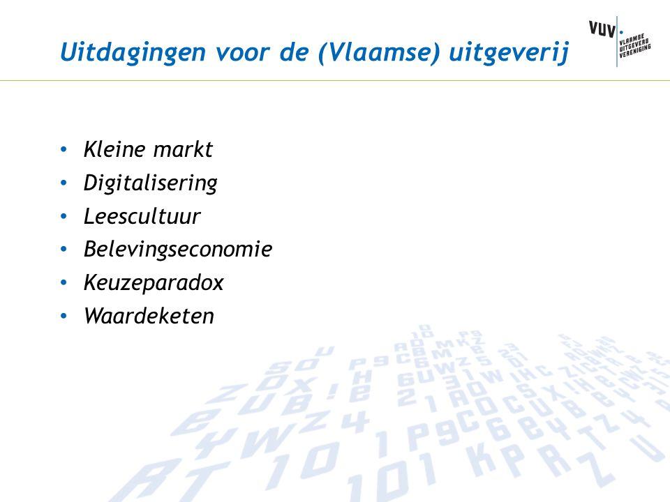 Uitdagingen voor de (Vlaamse) uitgeverij Kleine markt Digitalisering Leescultuur Belevingseconomie Keuzeparadox Waardeketen