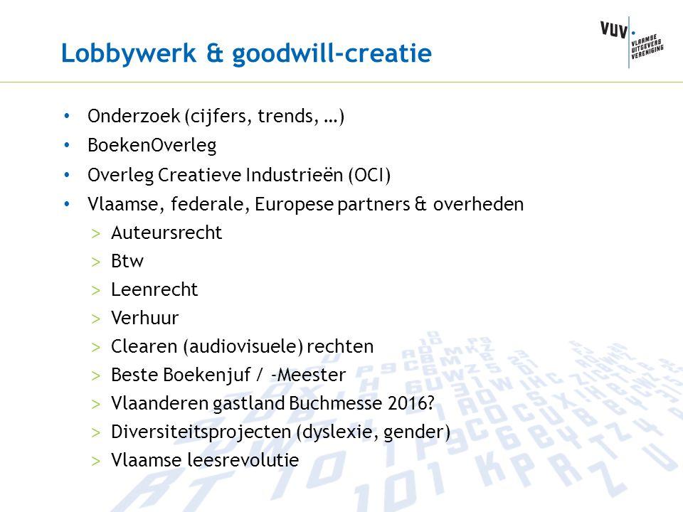 Lobbywerk & goodwill-creatie Onderzoek (cijfers, trends, …) BoekenOverleg Overleg Creatieve Industrieën (OCI) Vlaamse, federale, Europese partners & o