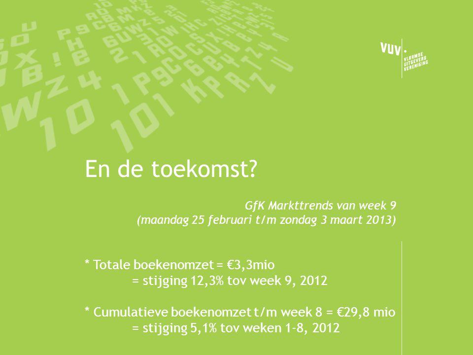 En de toekomst? GfK Markttrends van week 9 (maandag 25 februari t/m zondag 3 maart 2013) * Totale boekenomzet = €3,3mio = stijging 12,3% tov week 9, 2