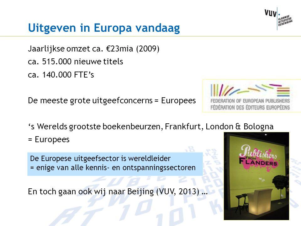 Uitgeven in Europa vandaag Jaarlijkse omzet ca. €23mia (2009) ca. 515.000 nieuwe titels ca. 140.000 FTE's De meeste grote uitgeefconcerns = Europees '