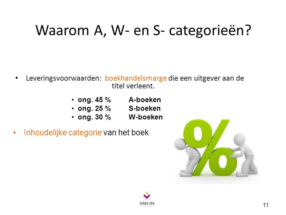 Waarom A, W- en S- categorieën? Leveringsvoorwaarden: boekhandelsmarge die een uitgever aan de titel verleent. 11 ong. 45 % A-boeken ong. 25 % S-boeke