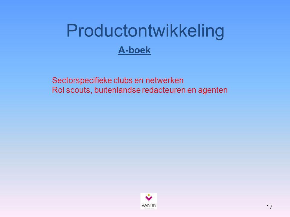 17 A-boek Productontwikkeling Sectorspecifieke clubs en netwerken Rol scouts, buitenlandse redacteuren en agenten
