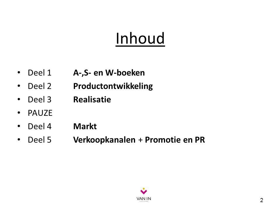 13 A-boek S-boek W-boek Productontwikkeling Realisatie Markt Verkoopkanalen Promotie en pr