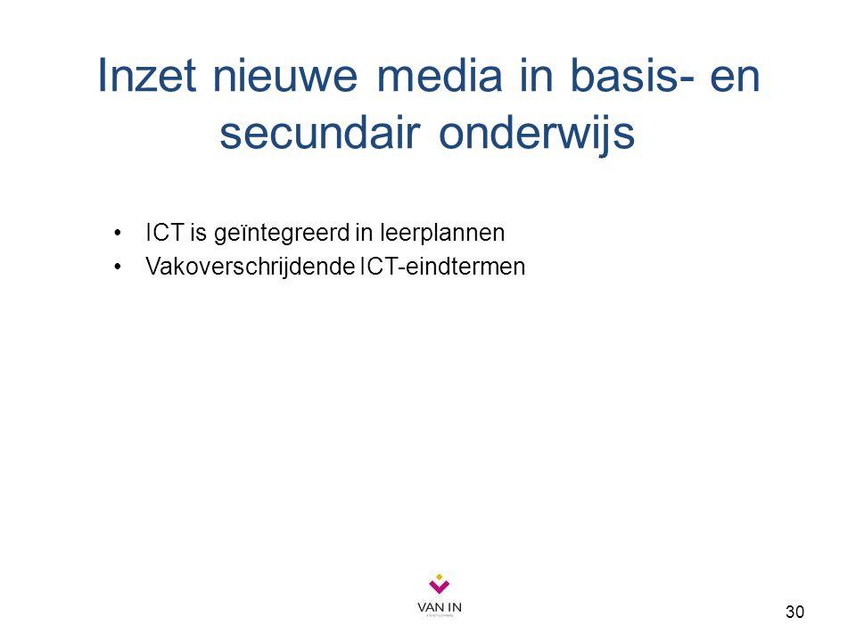 30 Inzet nieuwe media in basis- en secundair onderwijs ICT is geïntegreerd in leerplannen Vakoverschrijdende ICT-eindtermen