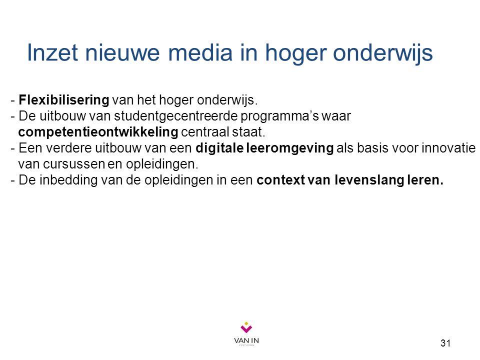 31 - Flexibilisering van het hoger onderwijs. - De uitbouw van studentgecentreerde programma's waar competentieontwikkeling centraal staat. - Een verd