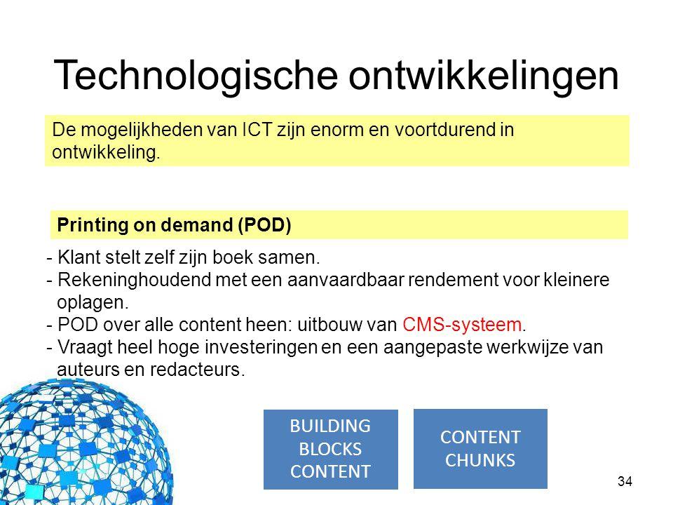34 Printing on demand (POD) Technologische ontwikkelingen De mogelijkheden van ICT zijn enorm en voortdurend in ontwikkeling. - Klant stelt zelf zijn
