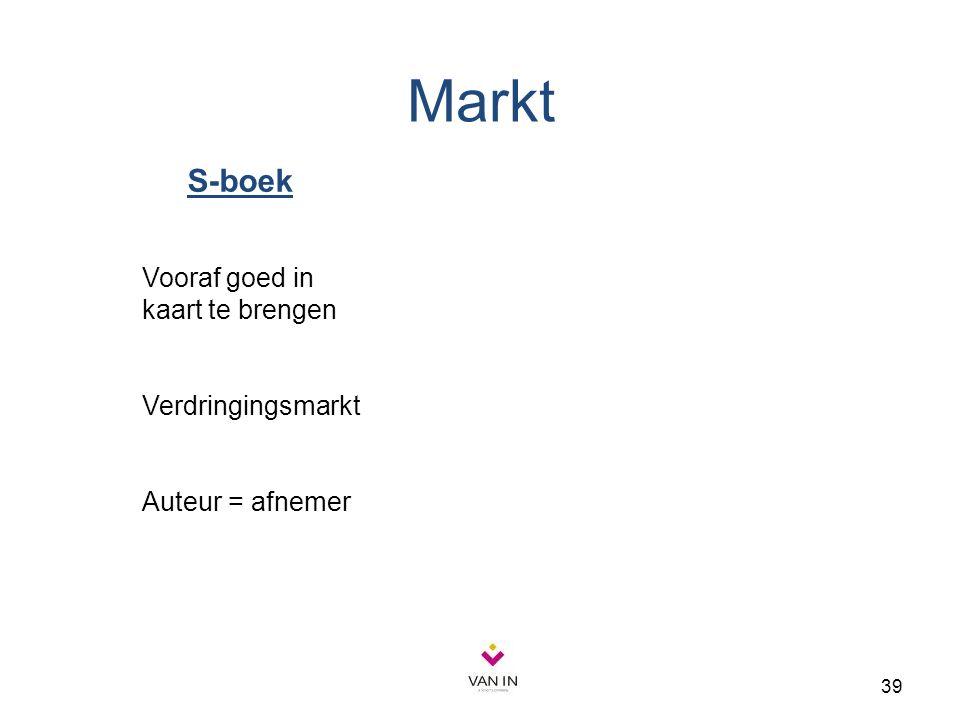 39 S-boek Vooraf goed in kaart te brengen Verdringingsmarkt Auteur = afnemer Markt