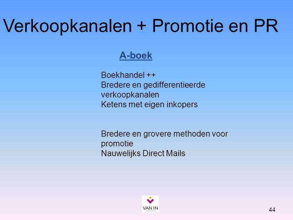 44 Verkoopkanalen + Promotie en PR Boekhandel ++ Bredere en gedifferentieerde verkoopkanalen Ketens met eigen inkopers Bredere en grovere methoden voo