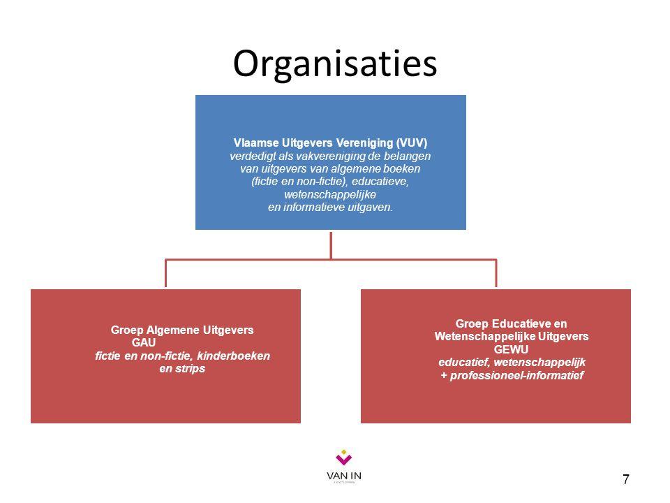Organisaties 7 Vlaamse Uitgevers Vereniging (VUV) verdedigt als vakvereniging de belangen van uitgevers van algemene boeken (fictie en non-fictie), ed