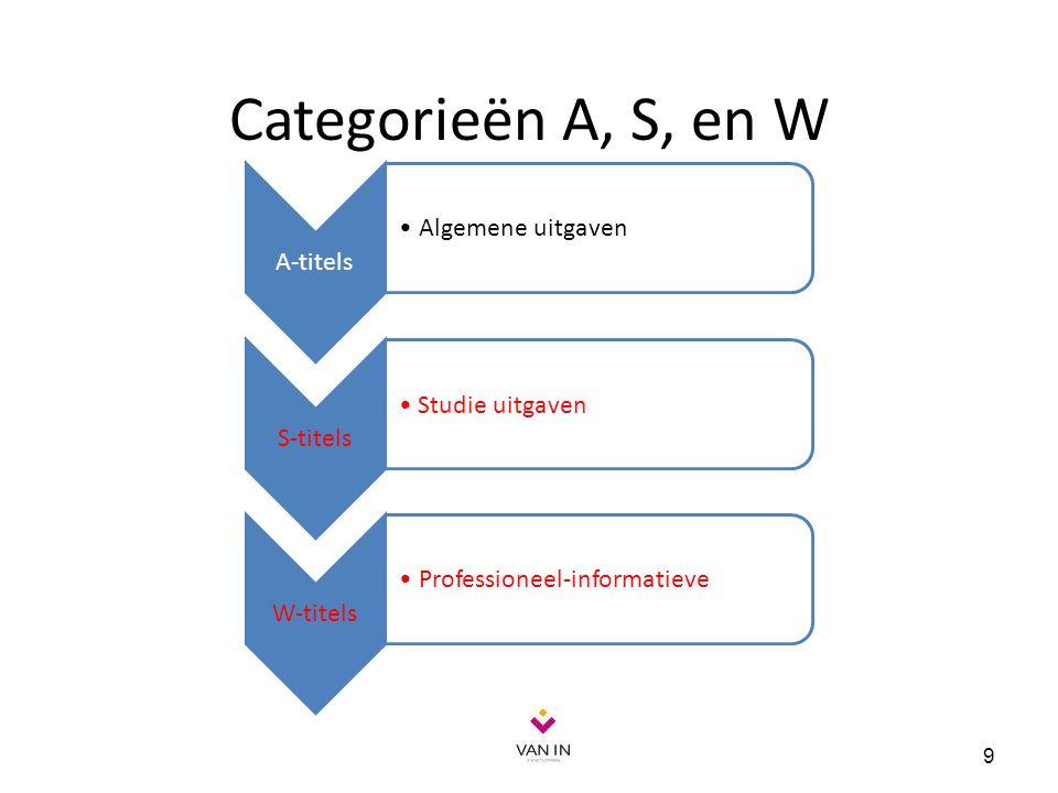 Categorieën A, S, en W 9 A-titels Algemene uitgaven S-titels Studie uitgaven W-titels Professioneel-informatieve