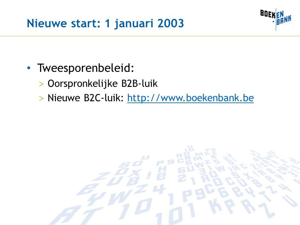 Nieuwe start: 1 januari 2003 Tweesporenbeleid: > Oorspronkelijke B2B-luik > Nieuwe B2C-luik: http://www.boekenbank.behttp://www.boekenbank.be