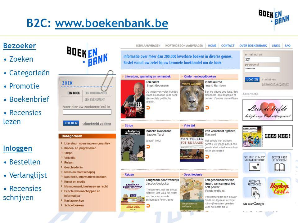 B2C: www.boekenbank.bewww.boekenbank.be Bezoeker Zoeken Categorieën Promotie Boekenbrief Recensies lezen Inloggen Bestellen Verlanglijst Recensies schrijven