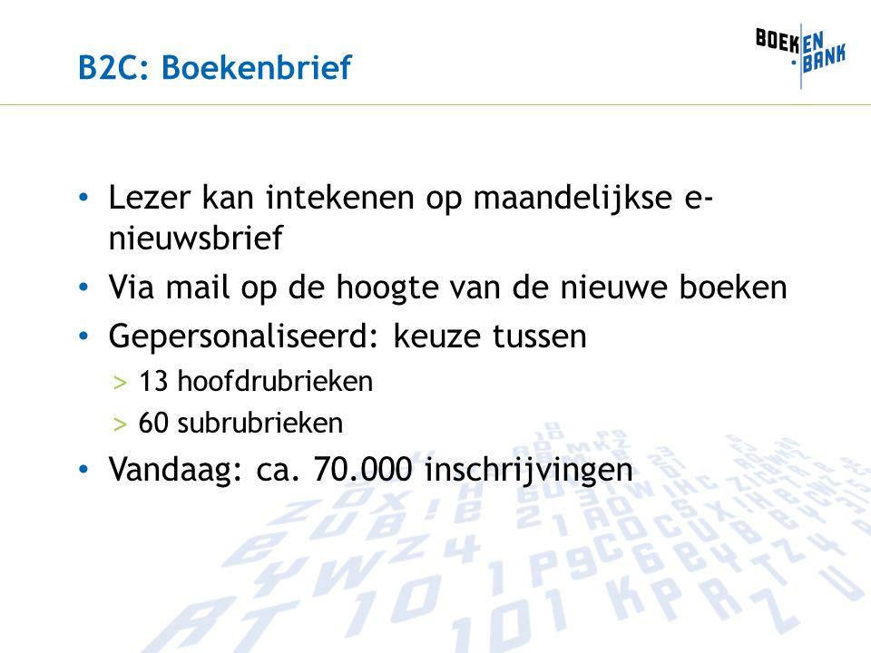 B2C: Boekenbrief Lezer kan intekenen op maandelijkse e- nieuwsbrief Via mail op de hoogte van de nieuwe boeken Gepersonaliseerd: keuze tussen > 13 hoofdrubrieken > 60 subrubrieken Vandaag: ca.