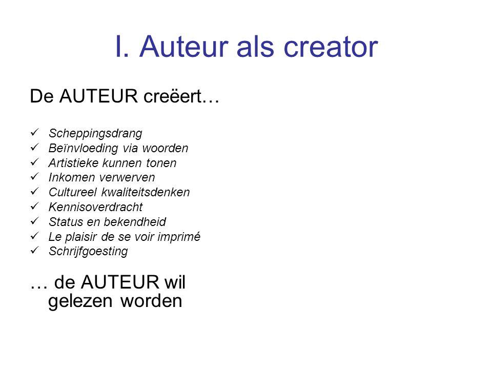I. Auteur als creator De AUTEUR creëert… Scheppingsdrang Beïnvloeding via woorden Artistieke kunnen tonen Inkomen verwerven Cultureel kwaliteitsdenken