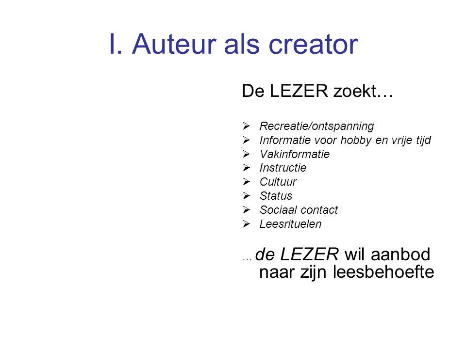I. Auteur als creator De LEZER zoekt…  Recreatie/ontspanning  Informatie voor hobby en vrije tijd  Vakinformatie  Instructie  Cultuur  Status 