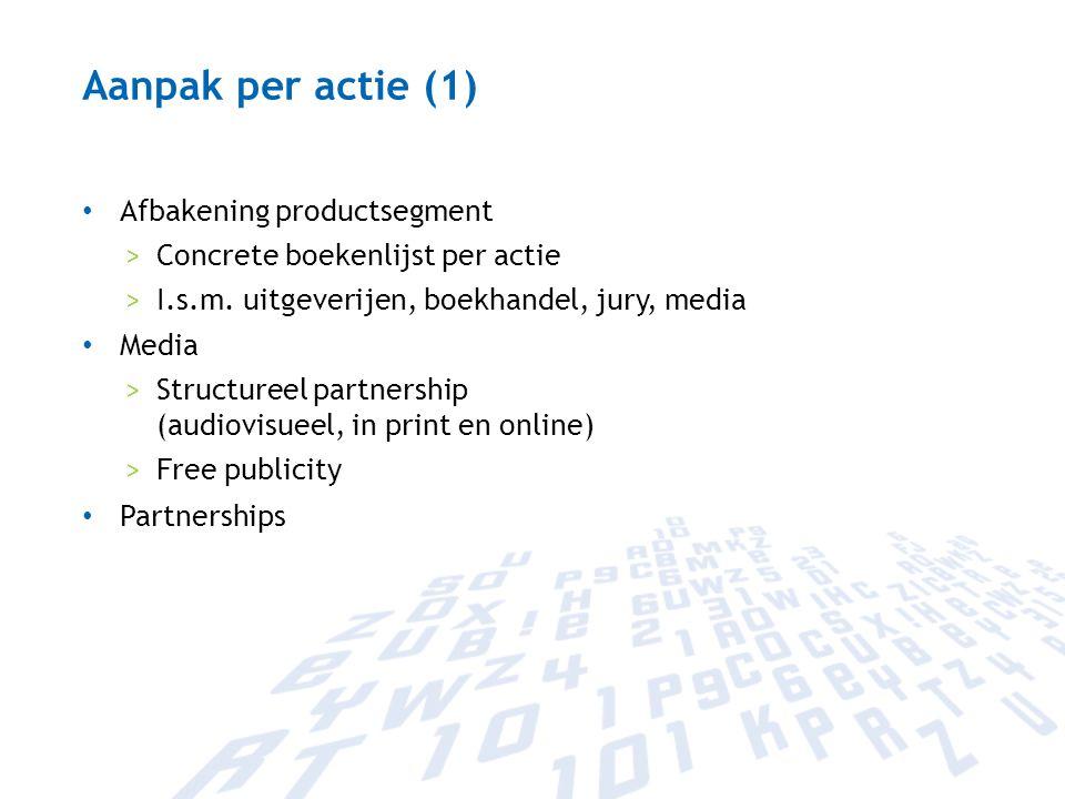 Aanpak per actie (1) Afbakening productsegment >Concrete boekenlijst per actie >I.s.m. uitgeverijen, boekhandel, jury, media Media >Structureel partne