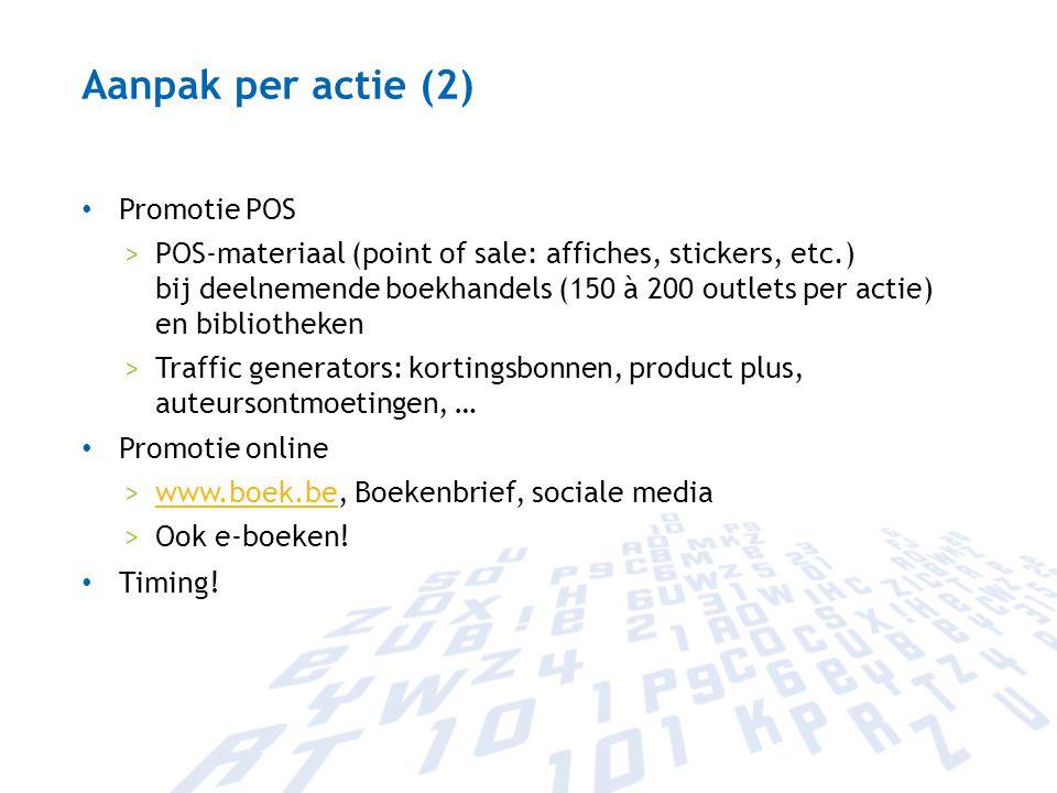 Aanpak per actie (2) Promotie POS >POS-materiaal (point of sale: affiches, stickers, etc.) bij deelnemende boekhandels (150 à 200 outlets per actie) e