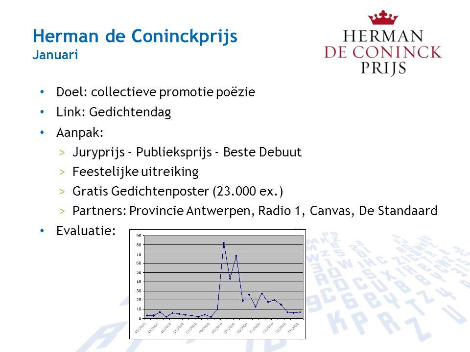 Herman de Coninckprijs Januari Doel: collectieve promotie poëzie Link: Gedichtendag Aanpak: >Juryprijs - Publieksprijs - Beste Debuut >Feestelijke uit