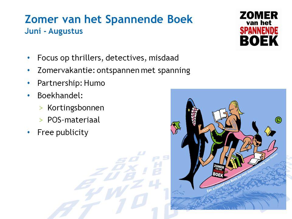 Zomer van het Spannende Boek Juni - Augustus Focus op thrillers, detectives, misdaad Zomervakantie: ontspannen met spanning Partnership: Humo Boekhand
