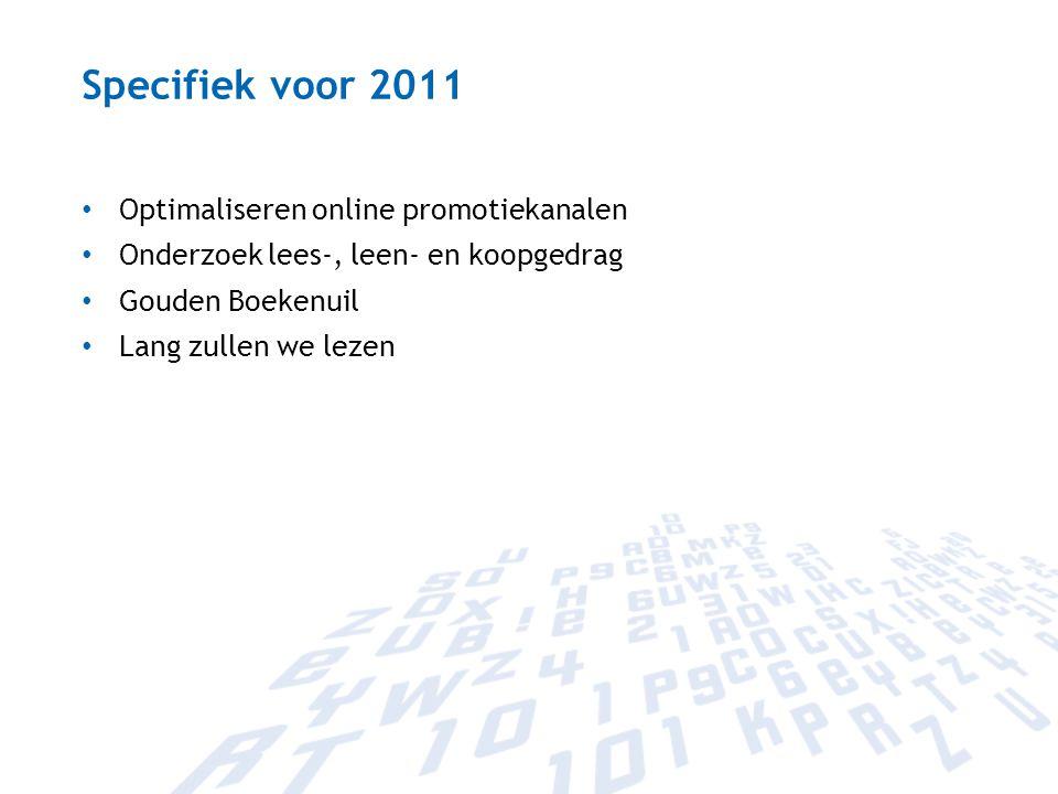 Specifiek voor 2011 Optimaliseren online promotiekanalen Onderzoek lees-, leen- en koopgedrag Gouden Boekenuil Lang zullen we lezen