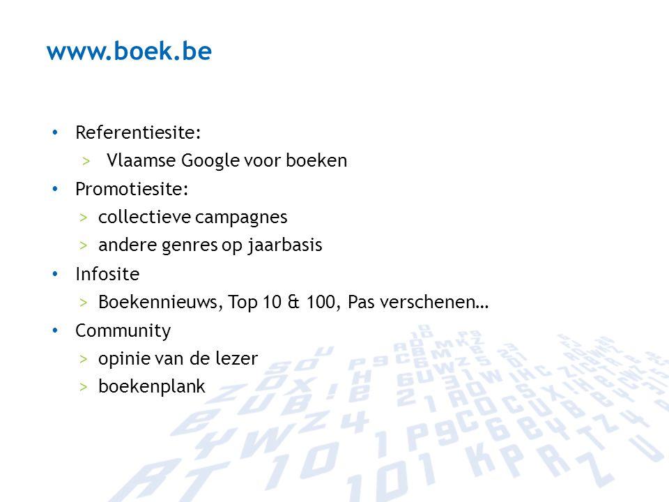 Referentiesite: >Vlaamse Google voor boeken Promotiesite: >collectieve campagnes >andere genres op jaarbasis Infosite >Boekennieuws, Top 10 & 100, Pas
