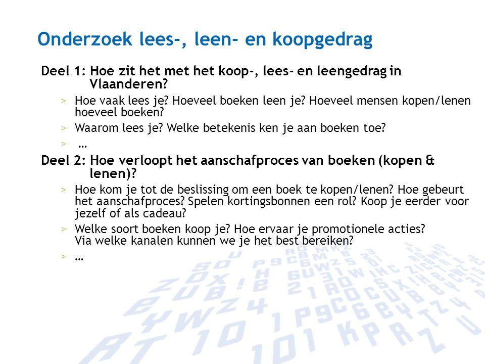 Onderzoek lees-, leen- en koopgedrag Deel 1: Hoe zit het met het koop-, lees- en leengedrag in Vlaanderen? >Hoe vaak lees je? Hoeveel boeken leen je?