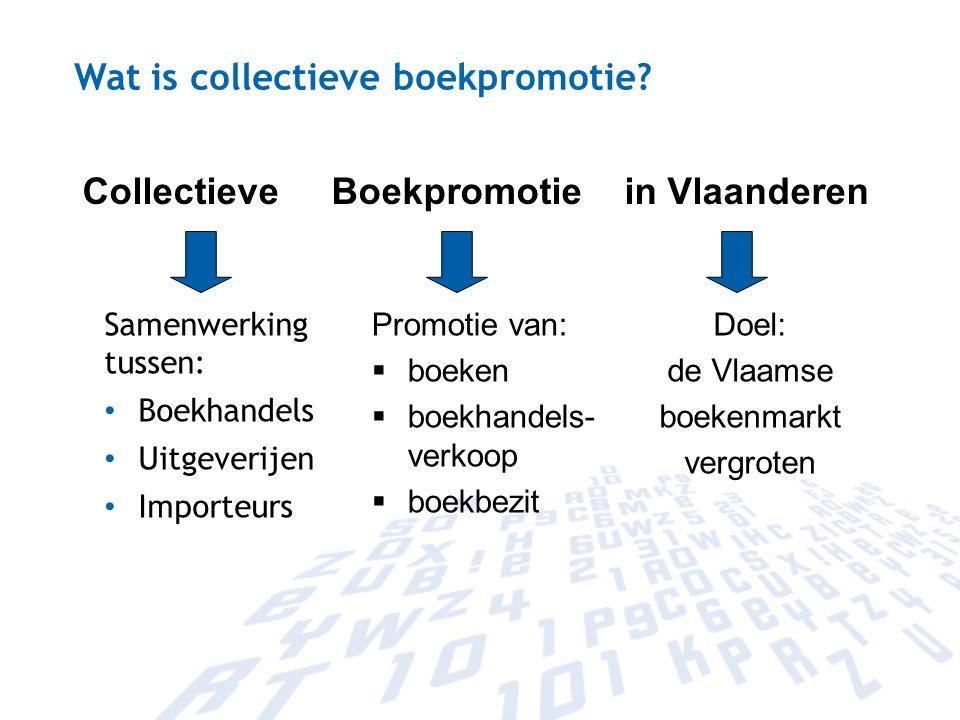 Wat is collectieve boekpromotie? Samenwerking tussen: Boekhandels Uitgeverijen Importeurs Collectieve Boekpromotie in Vlaanderen Promotie van:  boeke