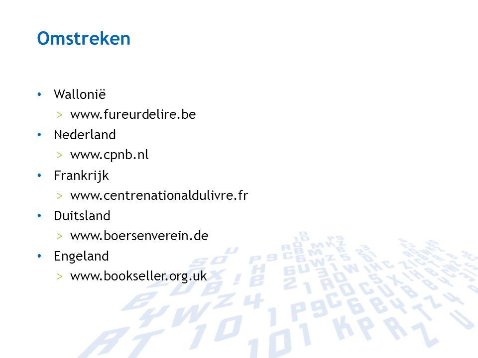 Omstreken Wallonië >www.fureurdelire.be Nederland >www.cpnb.nl Frankrijk >www.centrenationaldulivre.fr Duitsland >www.boersenverein.de Engeland >www.b